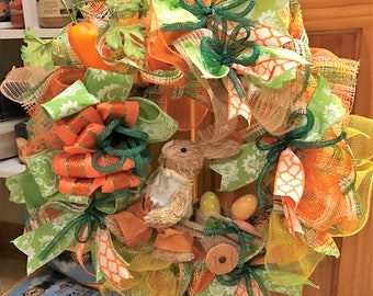 Easter Wreath Peter Cottontail Poly Deco Mesh