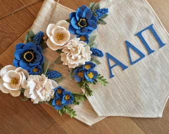 Alpha Delta Pi Wall Banner  Canvas Banner Felt Flower  ADPi  Sorority Banner