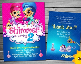 Shimmer and shine Invitation, Shimmer and shine Birthday, Shimmer and shine Party, Shimmer and shine Invites, Shimmer and shine Printables