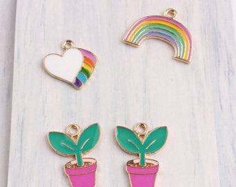 10Pcs Gold Plated Enamel Heart Charms,Flower Pot Pendant Accessories, Colorful Rainbow Charms Bracelet/Necklace Floating Jewelry Crafts