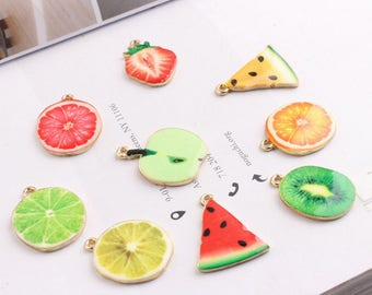 10Pcs Gold Plated Enamel Fruit Charms, Watermelon Pendant Accessories Cute Fruits Charm Bracelet & Necklace Floating Jewelry Crafts