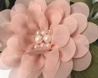 "4"" Peach Chiffon Handstitich Flower Hair Clip"