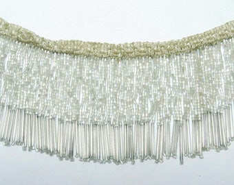"Off White Beaded Fringe Trim, Decorative Lamp Shade, Sewing Crafts Trimmings, Long Fringe Trim, 4"" Inch Wide RIbbon By The Yard FRT476B"
