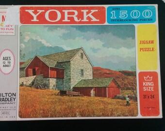 Jigsaw Puzzles_MB 4335 _1500+ pcs. 11 Stone Barn. Vintage 1963