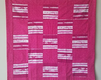 Pink and White Stripe Snuggle Flannel Blanket