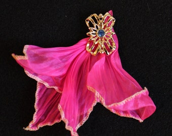 Vintage Brooch with Chiffon Square, Vintage Rhinestone and Chiffon Brooch,  Vintage Goldtone Brooch