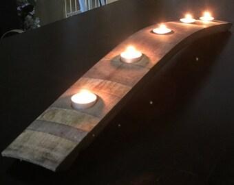 Wine barrel stave candelabra
