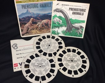 Vintage Prehistoric Animals Dinosaur pack of 3 GAF View Master Reels  & booklet B 619 World of Science