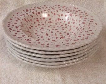Set of 6 / Vintage Adams Ironstone China Sprig Pink / Large Rim Soup Bowls / Rimmed Bowls / Rope Edge / Made in England between 1977-1983