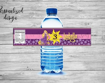 Rapunzel label for water / Rapunzel Water bottle label