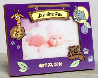 Personalized Baby Picture Frame, Baby Girl Picture Frame,New Baby Girl Frame, Baby Girl Birth Frame, Baby Girl Frame, Baby Frame Zoo