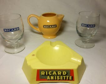 French Ricard Anisette set, jug,glasses,ash tray,Pastis,bistro,barware