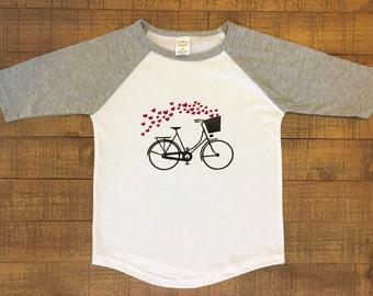 Girls Valentine shirt- Raglan girl shirt - Girl bike shirt - Girl heart shirt - Kids bike shirt - Kids heart shirt - Kids valentine shirt