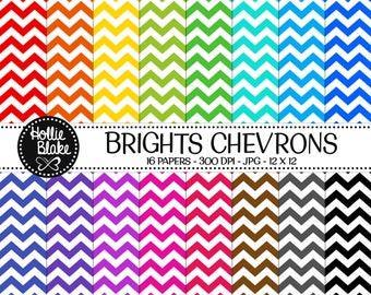 Buy 1 Get 1 Free!! 16 Bright Chevron Digital Paper • Rainbow Digital Paper • Commercial Use • Instant Download • #CHEVRON-106-B
