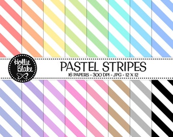 50% off SALE!! 16 Pastel Stripes Digital Paper • Rainbow Digital Paper • Commercial Use • Instant Download • #STRIPES-107-P