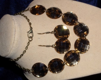 Brown Round Flat Backed Necklace and Earrings Set