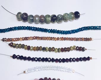 Lot of Large Faceted Rondelle Beads - Mix of stones