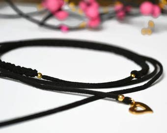 Braided Choker, minimalist, suede, necklace, Bracelet, headband, black and gold heart charm gold stainless steel - Vegan