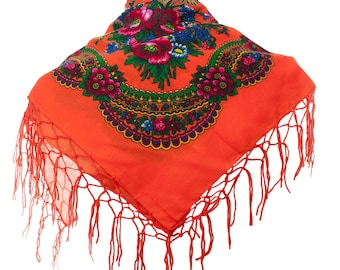 ORANGE folk SCARF shawl with flowers and fringes POLAND scarves fashion colors