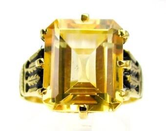 Vibrant Victorian 14K Gold Sterling & 4ct Natural Citrine Gemstone Ring Size 7 etI058C