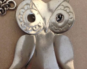 Vintage Reed & Barton Pewter Owl Pendant Necklace