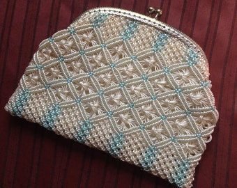 Vintage purse, blue and cream c1950s-60s