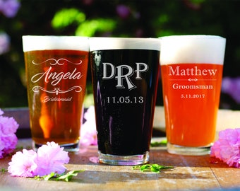 4 Custom Pint Glasses - Personalized Bar Ware - Gift for Him - Groom Gift - Best Man - Husband - Father - Dad - Glassware - Bar Gift - Beer