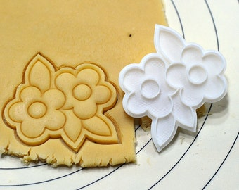Two Flowers Cookie Cutter and Stamp