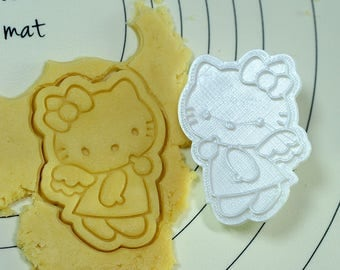 Kitty Angel Cookie Cutter and Stamp