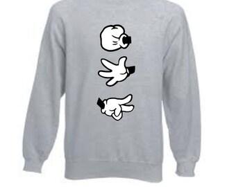 mickey mouse inspired rock, paper, scissors Jumper Sweatshirt