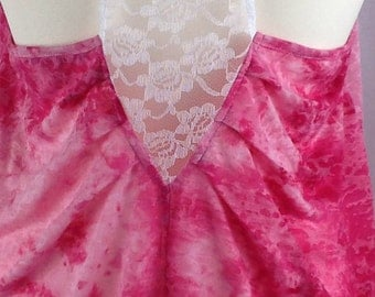 Pink lace back burnout jersey top size 10/14
