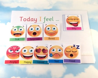 Today I feel, Feelings, Emotions, Communicate in symbols,  Emojis, ASD, Visual aid, PECS, Magnetic option, Home schooling, Pre-school, EYFS