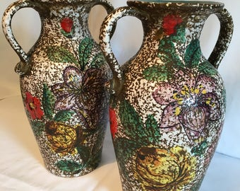 A pair of Italian Floral Vases / Urns - in the style of Fratelli Fanciullacci - 1960s Vase