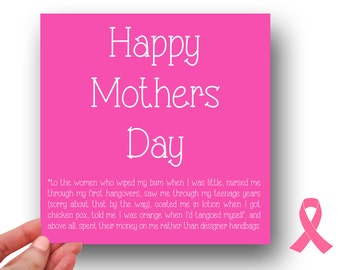 HAPPY MOTHERS DAY // Breast cancer research // mothers day card