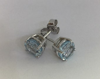 Sky blue London topaz 14k white gold earrings