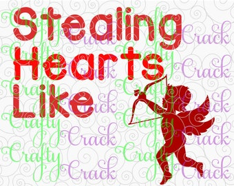 Stealing Hearts Like Cupid SVG, DXF, PNG - Digital Download for Silhouette Studio, Cricut Design Space