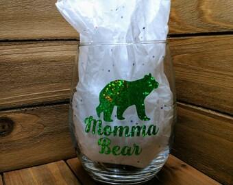 handmade, momma bear, momma, stemless wine glass, gift for her, gift for mom, new mom gift, gift ideas, best friend gift, girlfriend gift