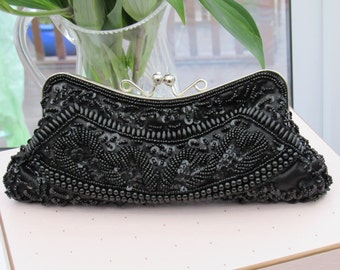 Black Vintage Beaded Evening Bag,  Beaded Clutch Bag with Purse Fastening Clips,