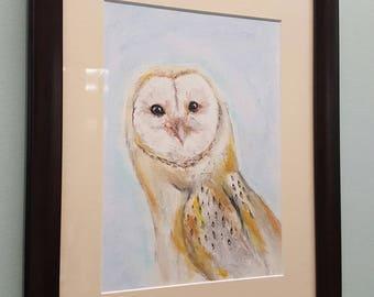 Owl art , wall art, art prints, pastel and charcoal print , owl print, owl artwork , wildlife art , artwork