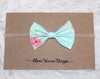 Blue spring floral bow headband