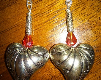 Metal Heart Earrings with Red Crystal Accents