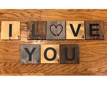 Handmade~ I Love You~ Scrabble Wall Wood Tile Art