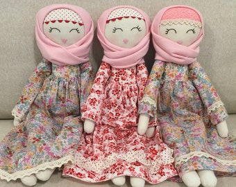 Sofia handmade hijab doll (Made to Order) heirloom, Muslim doll, fabric doll, special gift, one of a kind gift