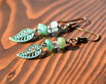 Green Leaf with Natural Stone Accent Drop Earrings
