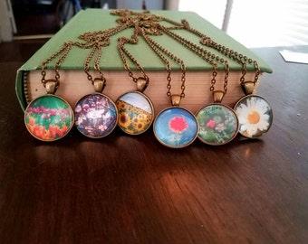 Flower Pendant Necklace (Daisy, Tulip, Sunflower,cherry blossom) sunflower necklace; daisy necklace; flower lover gift