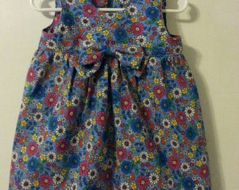 Toddler Girl's Floral Dress with Bow.