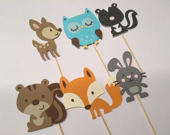 Woodland Animals Cupcake Toppers-Critter Animals Cupcake-Woodland Party Decor-Woodland Critters-Animal Party Decor, Baby Shower Decor