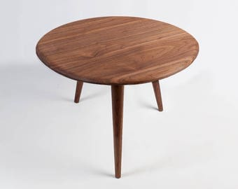 Mid Century Round Table. Dining Table, End Table, Side Table or Coffee Table. Handmade from Solid Wood