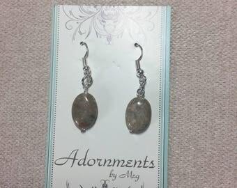 Oval Autumn Jasper Earrings