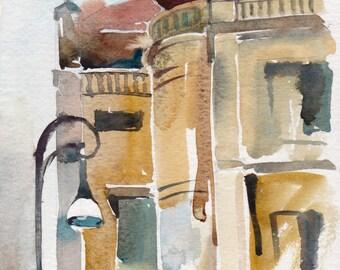 Rome watercolor, Rome art, Italy watercolor, Art Print, City watercolor - giclee print of an original watercolor (5.5 x 8.5 in)